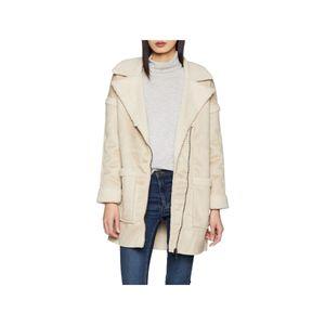 ONLY Damen Langarm Mantel Reverskragen Reißverschluss beige Größe S