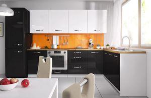 Küchenzeile 303x180cm weiß / weiß - schwarz Acryl Hochglanz Küchenblock Modern Küche Komplett