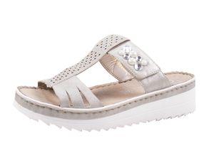 Rieker V3276-40 Schuhe Damen Pantoletten Plateau Sandalen, Größe:40 EU, Farbe:Grau