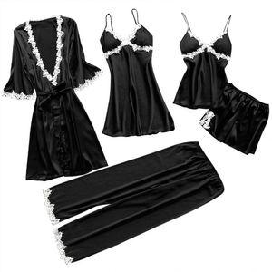 5Pcs Frauen y Spitze Nachtwäsche Unterwäsche Anzug Babydoll Nachtwäsche Hosen Kleid||Schwarz