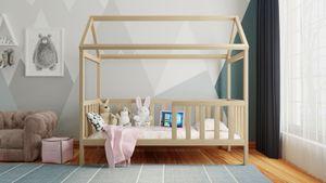 Holzti Hausbett aus massivem Kiefernholz (Naturbelassen, 200 x 90cm), Kinderbett mit Geländer