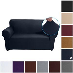 Stretch Sofa Schonbezug Milch Seide Stoff Anti-Rutsch Soft Couch Sofabezug 2-Sitzer Waschbar für Wohnzimmer Kinder Haustiere (Dunkelblau)