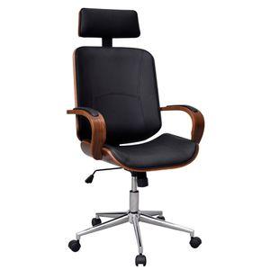 Bürostuhl Schreibtischstuhl Chefsessel Büro-Drehstuhl mit Kopfstütze Bugholz mit Kunstleder-Bezug