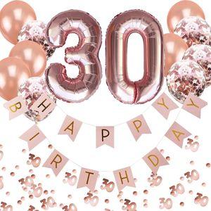 Oblique Unique 30. Geburtstag Party Deko Set - Girlande + Zahl 30 Ballons + Konfetti Luftballon Set + Konfetti