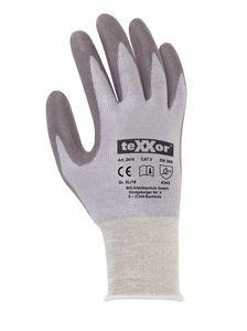 teXXor Schnittschutz-Handschuhe Schnittschutz-Strickhandschuhe PolyurethanBESCHICHTUNG 2416 Mehrfarbig grau/grau XS