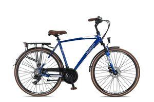 28 Zoll Trekkingrad Herren Umit Ventura 21 Gänge Alu Federgabel Scheibenbremsen Blau-Weiß 56 cm Rahmengröße