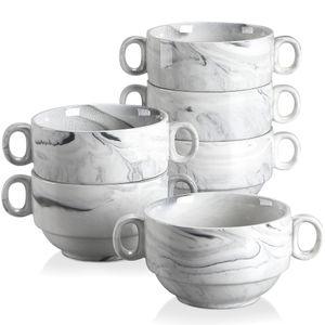 MALACASA Suppentassen mit Henkel 6 teilige Suppenschüsseln aus Porzellan, Suppenschalen, Füllmenge 390ml, Marmor