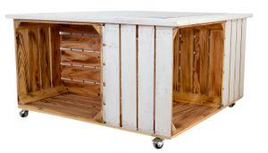 1x Moderner Wohnzimmertisch / Couchtisch, außen weiß / innen geflammt, mit Stauraum, Wohnzimmermöbel weiß, neu, 85x85cm