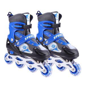 Inliner Skate Soft-Boot Kinder Jugend Größenverstellung 5 Größen verstellbar unisex blau, Größe:37-41