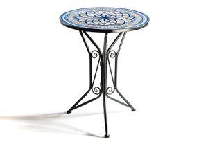 Gartentisch Mediterran mit Platte in Mosaikoptik - Höhe 68 cm Durchmesser 55 cm