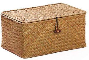 Aufbewahrungskorb aus Seegras mit Deckel Natürliches Material (26cmx16cmx10cm)