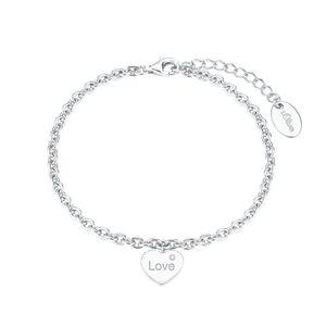 s.Oliver Armband für Damen, Sterling Silber 925, Zirkonia Herz Silber