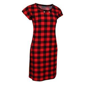 Frauen Casual Kurzarm Kleid Knielanges T Shirt Kleid mit Größe XL Farbe rot