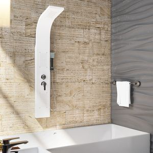 OIMEX CALM Duschpaneel Duschgarnitur Duschsystem Duschsäule Wasserfall Regendusche, Weiß Matt