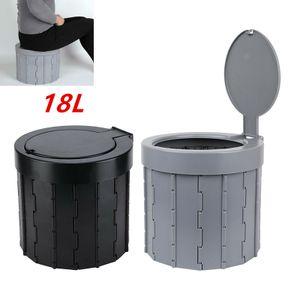 18L Campingtoilette Tragbare Camping Toilette Grau Klappbarer Toiletteneimer Auto Notfall Reise WC Mit 12 Reinigungstaschen