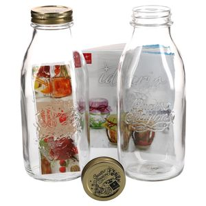 2er Set Einmachglas Original Quattro Stagioni 1,0L Flasche Milchflasche incl. Bormioli Rezeptheft