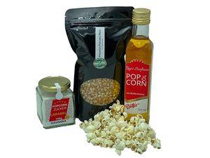 Hopser Food Fun Partyset 500g Popcornmais,250ml Popcorn mit Butteraroma und 150g Karamellzucker Popcornset für Popcornmaschine