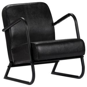 【Neu】Sessel Relaxsessel Schwarz Echtleder Gesamtgröße:58 x 70 x 78 cm BEST SELLER-Möbel-Stühle-Sessel im Landhaus-Stil