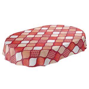 Tischdecke abwaschbar Wachstuch Gold Rot Weiss Crochet Tropfen Oval 140x220 cm