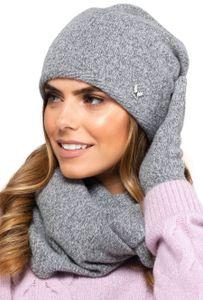 Kamea Winterset für Damen Anna 2-Teilig bestehend aus Loop-Schal und Wintermütze, Beanie, Damenschal als Winter-Schal, hergestellt in EU, Winter Set:Hellgrau
