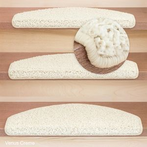 Metzker Stufenmatten Treppenmatten Shaggy Venus Halbrund Creme 1 Stück