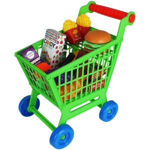 Kinder Einkaufswagen Spielset 35tlg. Supermarkt Einkaufstrolley mit Zubehör Lebensmittel Kinderspielzeug Set