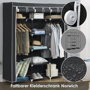 Juskys Faltbarer Stoff Kleiderschrank Norwich mit 2 Kleiderstangen & 9 Böden | 150 × 45 × 175 | Stahl & Vlies | schwarz