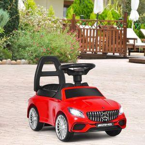 COSTWAY 2 in 1 Kinderauto und Schiebeauto mit LED Scheinwerfer, Hupe und Musik, Rutschauto mit Aufbewahrungsfach unter dem Sitz, Kinderrutscher, Spielzeugauto für Kinder Rot