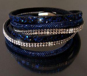Armband 2-fach Wickelarmband Netzschlauch Leder Glitzer Strass blau A6033B*