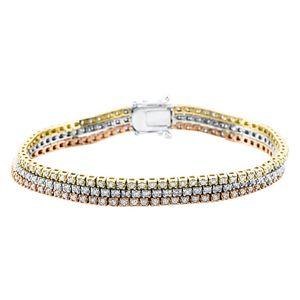 Armband Tennisarmband 750 Gold tricolor Länge: 17,0 cm 222 Brillanten 3 ct
