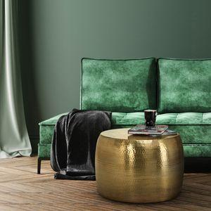 WOMO-DESIGN Handgearbeiteter Couchtisch Orient rund ? 53 x 41 cm Gold aus Aluminium - Flacher Hammerschlag Design Sofatisch Metall - Beistelltisch Wohnzimmertisch Loungetisch Tisch f?r Wohnzimmer