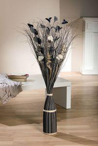 Deko-Bündel 'Anthrazit', Naturmaterialien, dekorativ verbunden, Weiße Blüten