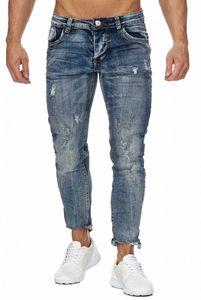 Herren Jaylvis Ankle Jeans Ripped Destroyed Hose 7/8 Used Wash Risse Cropped Design Regular Pants, Farben:Blau, Größe Jeans:29W