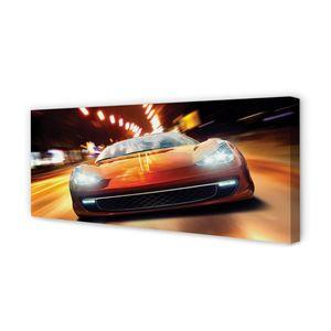 Leinwandbild 125x50 Wandkunst Sportwagen Lichter der Stadt
