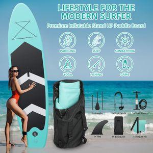 Tiptiper® Germany SUP 320 x 76 x 15cm Board bis 150kg, 330lbs Set Aufblasbares Stand up Paddling Surfbretter Surfbrett , Komplettes Zubehör, Integrierte Kick-Pad, Verstellbares Doppel-Paddel
