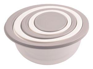 Schüssel-Set 5tlg Rührschüssel Salatschüssel Servierschüssel Schalen Schüsseln, Farbe:hellgrau