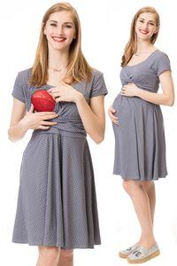 GFWL Umstandskleid Stillkleid #3in1 Schwangerschaftskleid Stillen GF1042XO in Grau mit weißen Punkten, Größe Damen EU:36 Small