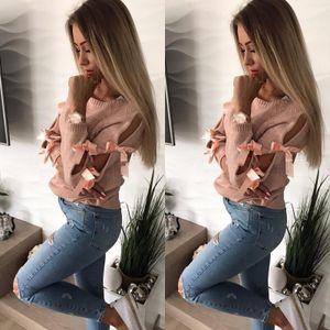 Frauen Strickpullover aushoehlen Bowknot Rundhals Langarm gerippten Casual Jumper PulloverS