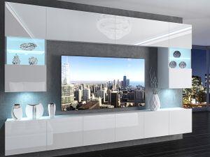 Wohnwand IM1, Wohnzimmerschrank IM1 , Farbe Weiß Hochglanz, mit LED-RGB Beleuchtung