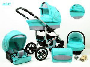 Kinderwagen Largo Alu,3 in 1 -Set Wanne Buggy Babyschale Autositz mit Zubehör Mint