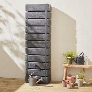 Regenwassersammeltank für die Wand Grandval 300L Holzimitation Anthrazit mit Rinnenanschluss-Set inklusive