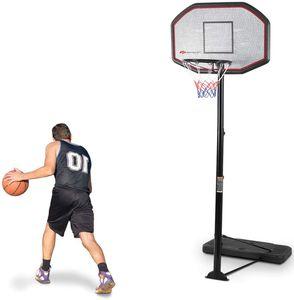 Basketballstaender Schwarz, Basketballkorb mit Staender Stabil, Basketballanlage Korbanlage Hoehenverstellbar