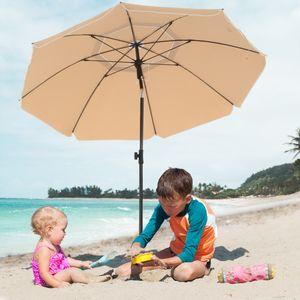 SONGMICS Sonnenschirm Ø 160 cm | Marktschirm UV Schutz UPF 50+ Sonnenschutz Gartenschirm aus Polyester Taupe GPU60BR