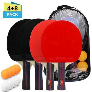 Tischtennisball- und Schlaegerset 4 Tischtennisschlaeger 8 Tischtennisbaelle Pack