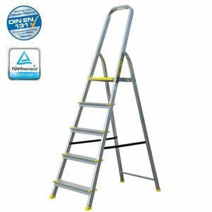 Haushaltsleiter mit 5 Stufen – Profi-Leiter aus Aluminium, 3m Arbeitshöhe, bis zu 120 kg Belastung, Stehleiter für Haus und Wohnung