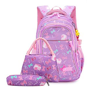 Schulrucksack Schulranzen Schultasche Sports Rucksack Freizeitrucksack Daypacks Backpack für Mädchen Jungen & Kinder Jugendliche mit der Großen Kapazität (Lila-Set)