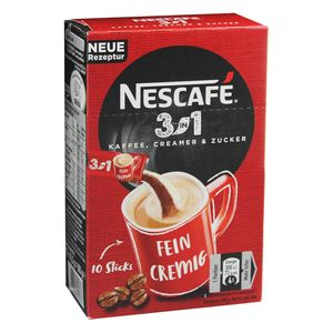 Nescafé 3in1 Sticks, Instantkaffee mit Creamer und Zucker, Instant Kaffee, 10 Portionssticks