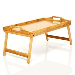 bambuswald© Serviertablett | Betttablett aus 100% Bambus - Tablett mit naturfarbenem Boden, Tragegriffen & herausklappbaren Füßen | Länge 50cm, Breite 30cm, Höhe 23cm - Tabletttisch Frühstückstablett