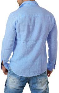Young & Rich Herren Leinenhemd langarm körperbetont slim fit leicht tailliert 100% Leinen T3152-H1650, Grösse:XL, Farbe:Hellblau