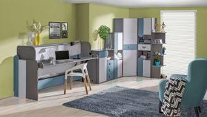Kinderzimmer-Einrichtung / Jugendzimmer Komplett - Set A Klemens, 6-teilig, Farbe: Blau / Weiß / Grau